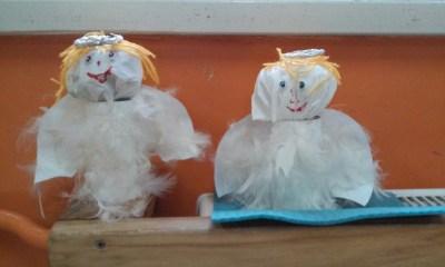 Aniołki z białych piórek Dzień Anioła Kreatywnie z dzieckiem Monika Okoń
