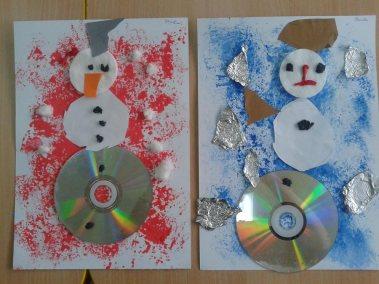 Bałwanek gąbką malowany Marlena Wrońska Prace plastyczne Prace plastyczne (Boże Narodzenie) Święta Zima (Prace plastyczne)