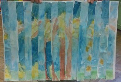 Jesienno - zimowe drzewa - mozaika Dzień Drzewa Dzień Lasu Dzień Leśnika Izabela Kowalska Jesień Jesień Kreatywnie z dzieckiem Prace plastyczne Zima