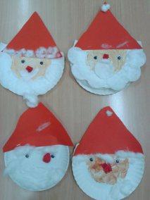 Mikołaje z papierowych talerzyków Kreatywnie z dzieckiem Marlena Wrońska Mikołajki Prace plastyczne (Boże Narodzenie) Święta Zima