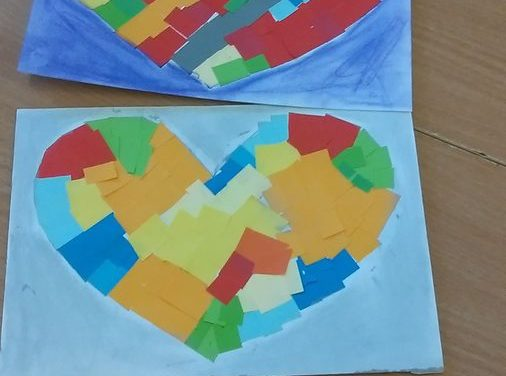 Mozaika – serca (witraż)