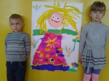 Pani Wiosna farbkami malowana - praca grupowa Marlena Wrońska Prace plastyczne Wiosna (Prace plastyczne)