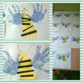 Pszczółki z odbitych stóp Emilia Lalak Jesień Kreatywnie z dzieckiem Lato Prace plastyczne Prace plastyczne Światowy Dzień Zwierząt Wiosna Zwierzęta