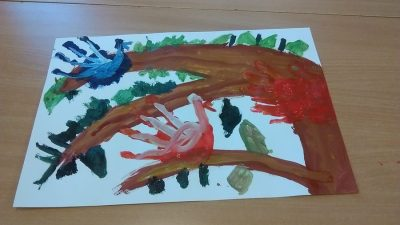 Ptaki na drzewie farbą malowane Dzień Drzewa Dzień Lasu Izabela Kowalska Jesień Kreatywnie z dzieckiem Międzynarodowy Dzień Ptaków Prace plastyczne Światowy Dzień Zwierząt Wiosna Zwierzęta