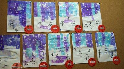Zimowy pejzaż bibułą malowany Aneta Grądzka-Rudziak Kreatywnie z dzieckiem Światowy Dzień Śniegu Zima