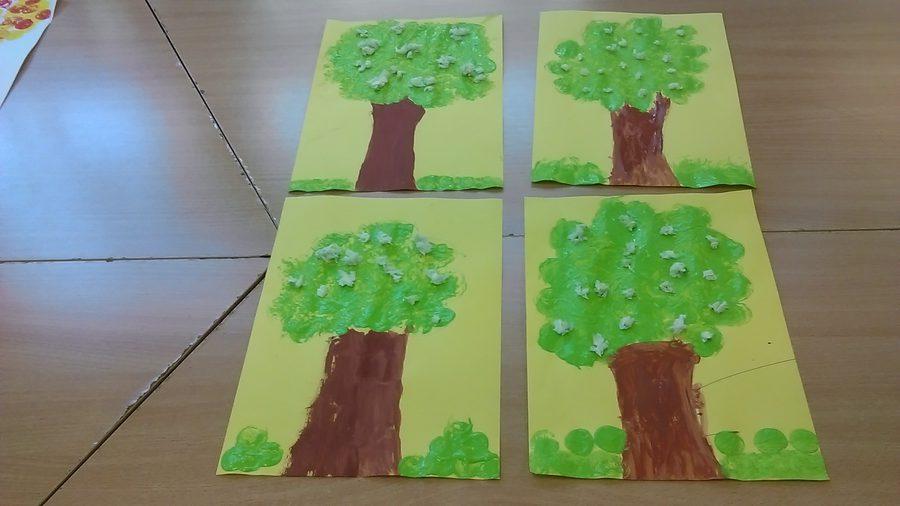 Kwitnąca wiśnia farbą malowana Dzień Drzewa Dzień Lasu Dzień Popcornu Izabela Kowalska Kreatywnie z dzieckiem Prace plastyczne Rośliny Wiosna