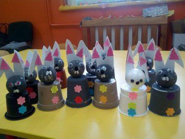 Króliczki z doniczki Monika Okoń Prace plastyczne Prace plastyczne (Dzień Zwierząt) Prace plastyczne (Wielkanoc) Światowy Dzień Zwierząt Wielkanoc (Prace plastyczne) Zwierzęta (Prace plastyczne)