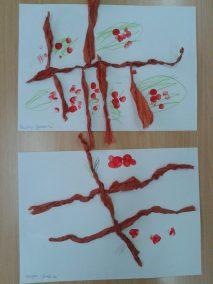 Jarzębinka z bibuły Dzień Drzewa Dzień Lasu Jesień Jesień Kreatywnie z dzieckiem Marlena Wrońska