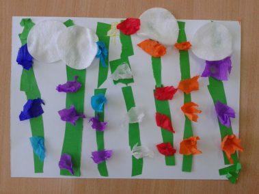 Kwiatki na łące z bibuły Marlena Wrońska Prace plastyczne Rośliny (Prace plastyczne) Wiosna (Prace plastyczne)