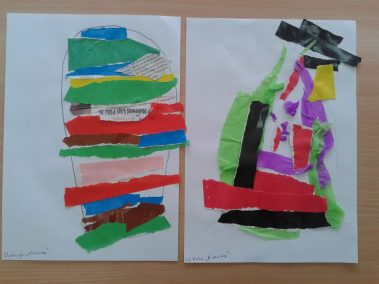 Pisanki - wyklejanka Kreatywnie z dzieckiem Marlena Wrońska Prace plastyczne (Wielkanoc) Wielkanoc