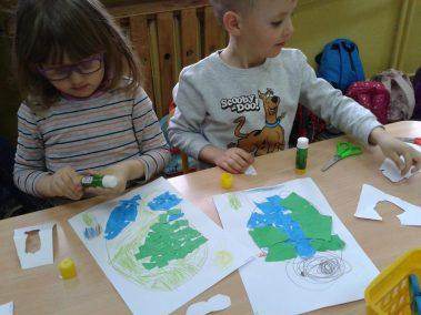 Jak dbamy o czystość naszej planety - wydzieranka Dzień Ochrony Środowiska Dzień Ziemi Marlena Wrońska Prace plastyczne Prace plastyczne (Dzień Ziemi)