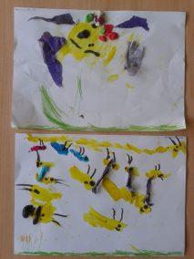 Pszczółki z bibuły Lato Marlena Wrońska Prace plastyczne Prace plastyczne (Dzień Zwierząt) Prace plastyczne (Lato) Światowy Dzień Zwierząt Wiosna (Prace plastyczne) Zwierzęta (Prace plastyczne)