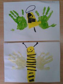 Pszczółki z odrysowanej dłoni Lato Marlena Wrońska Prace plastyczne Prace plastyczne (Dzień Zwierząt) Prace plastyczne (Lato) Światowy Dzień Zwierząt Wiosna (Prace plastyczne) Zwierzęta (Prace plastyczne)