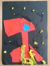 Kosmos z bibuły Dzień Kosmosu Dzień Lotnictwa i Kosmonautyki Kreatywnie z dzieckiem Marlena Wrońska