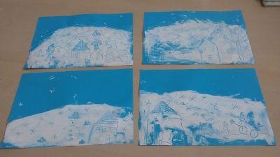 Malowanie na paście do zębów Dzień Koloru Białego Izabela Kowalska Prace plastyczne Zima Zima (Prace plastyczne)