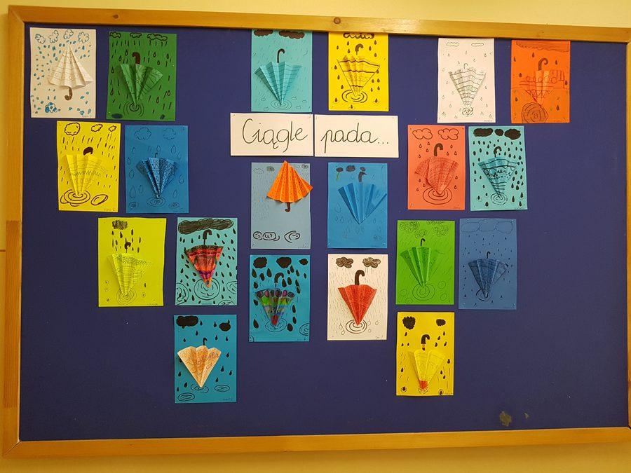 Parasolki - składanka papierowa Daria Kur Jesień Jesień Kreatywnie z dzieckiem Prace plastyczne (Jesień) Prace plastyczne (Wiosna) Wiosna