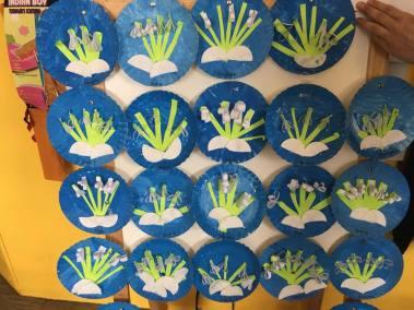 Przebiśniegi na papierowych talerzykach Patrycja Sulej Pomoce dydaktyczne Prace plastyczne (Wiosna)