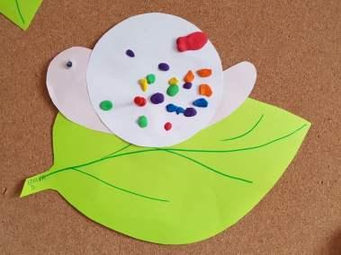 Ślimak na liściu Dominika Kobylak Jesień Jesień Kreatywnie z dzieckiem Lato Prace plastyczne (Dzień Zwierząt) Prace plastyczne (Jesień) Prace plastyczne (Wiosna) Światowy Dzień Zwierząt Zwierzęta