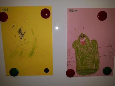 Ufoludek rysowany przez dzieci na podstawie rymowanki Dzień Kosmosu Dzień Lotnictwa i Kosmonautyki Małgorzata Wojkowska Prace plastyczne Prace plastyczne (Dzień Astronomii)