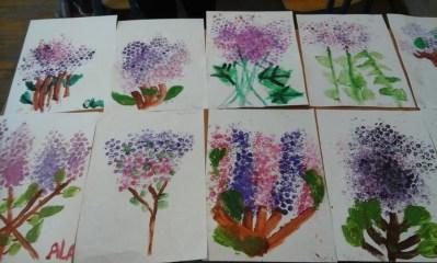 Bzy z folii bąbelkowej Anna Kowalska Kreatywnie z dzieckiem Rośliny Wiosna Wiosna