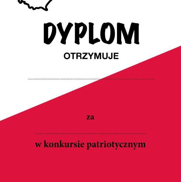 Dyplom za udział w konkursie patriotycznym