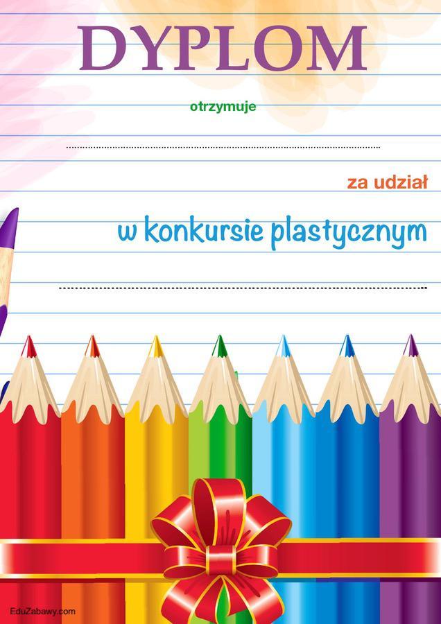 Dyplom za udział w konkursie plastycznym Dyplomy Okolicznościowe Za konkursy