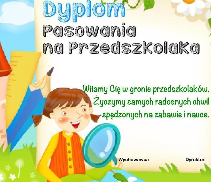 Dyplomy pasowania na przedszkolaka (pionowe)