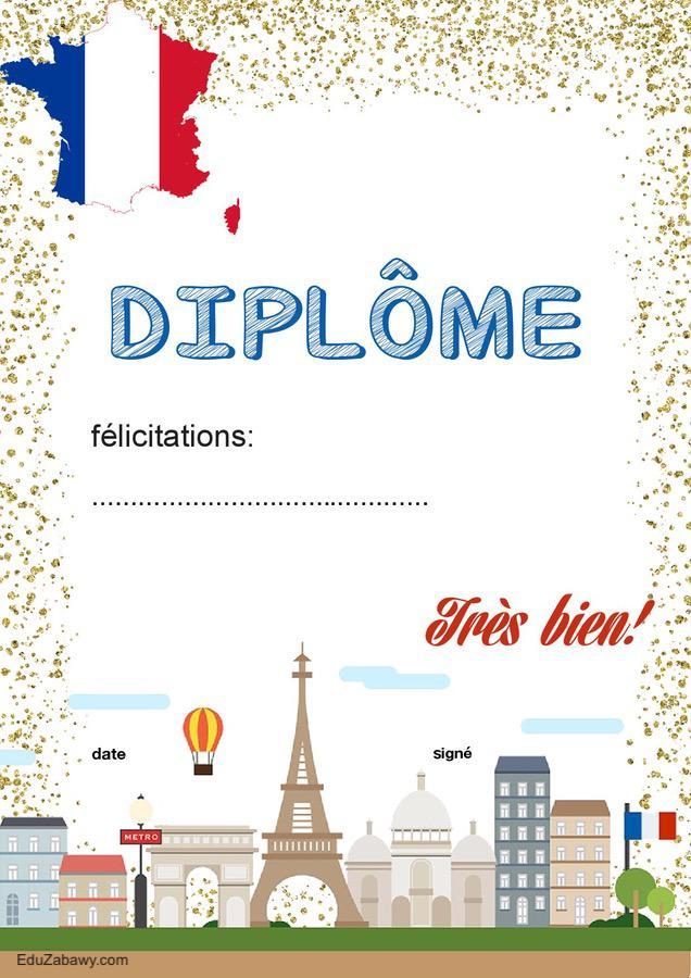 Dyplom za osiągnięcia z języka francuskiego Dyplomy Okolicznościowe Za osiągnięcia językowe