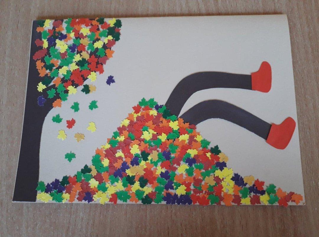 Jesienna kartka Alicja Mazur Jesień Jesień Kreatywnie z dzieckiem