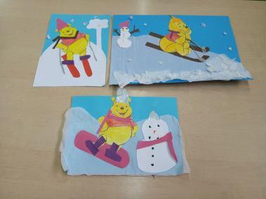 Kubuś Puchatek w zimowej scenerii Izabela Kowalska Kreatywnie z dzieckiem