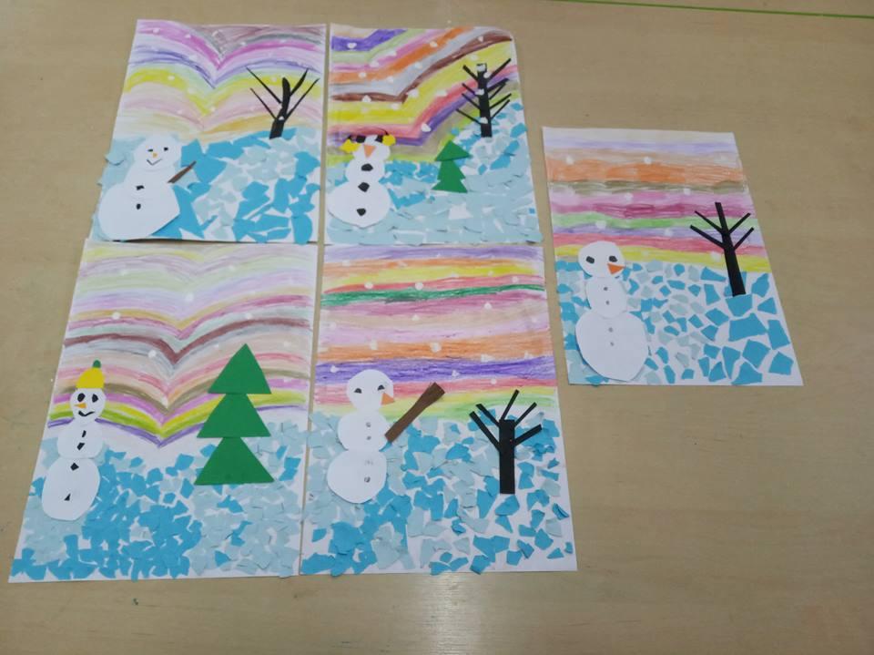 Bałwanki na zorzy polarnej Izabela Kowalska Kreatywnie z dzieckiem
