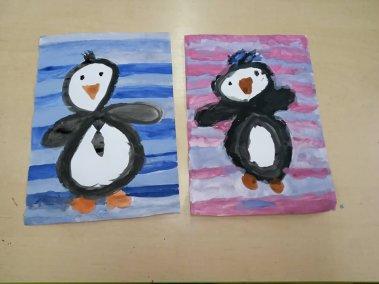 Leniwe ósemki - pingwinki Izabela Kowalska Prace plastyczne Zwierzęta (Prace plastyczne)