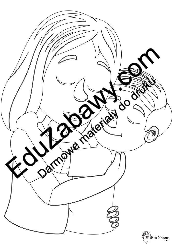 Kolorowanki: Mama z synkiem (6 szablonów) Dzień Matki Kolorowanki Kolorowanki (Dzień Mamy)