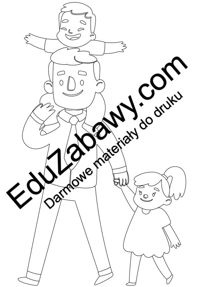 Kolorowanki tata z córką i synem (6 szablonów) Dzień Taty Kolorowanki Kolorowanki (Dzień Taty)