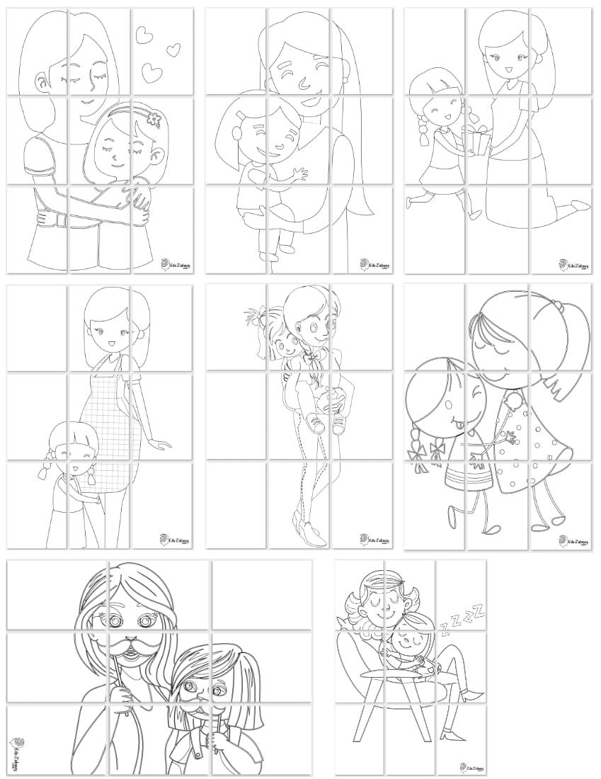 Kolorowanki XXL: Mama z córką (8 szablonów) Dzień Matki Kolorowanki XXL Kolorowanki XXL (Dzień Mamy)