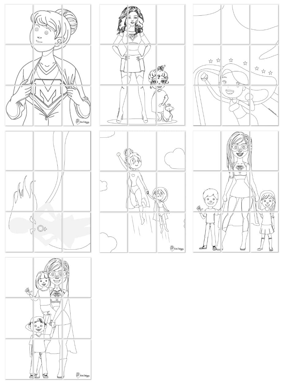 Kolorowanki XXL - Super Mama (7 szablonów) Dzień Matki Kolorowanki Kolorowanki XXL Kolorowanki XXL (Dzień Mamy)