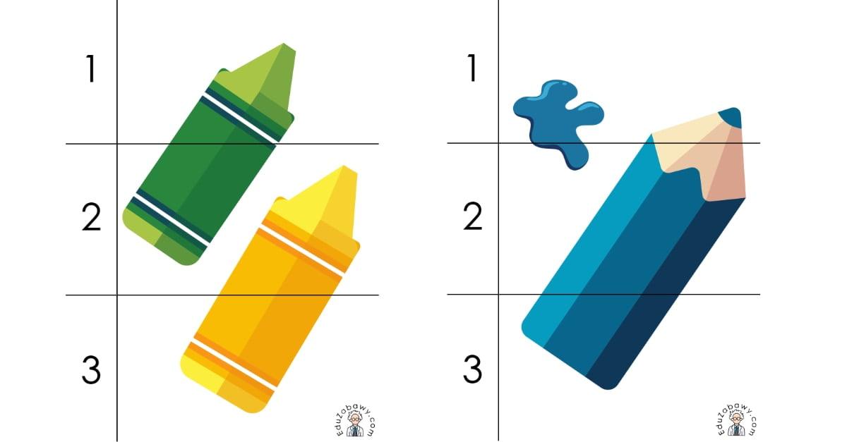 Dzień Kredki: Puzzle 3 elementy (10 kart pracy)