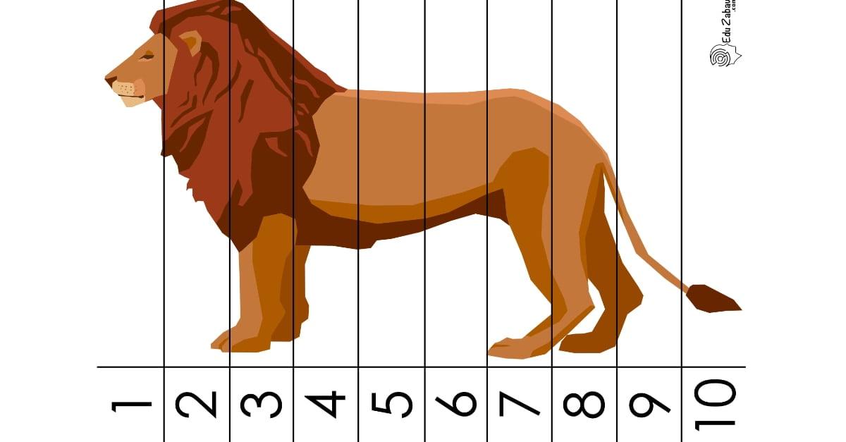 Dzień Zwierząt: Puzzle 10 elementów karty pracy dla dzieci do druku