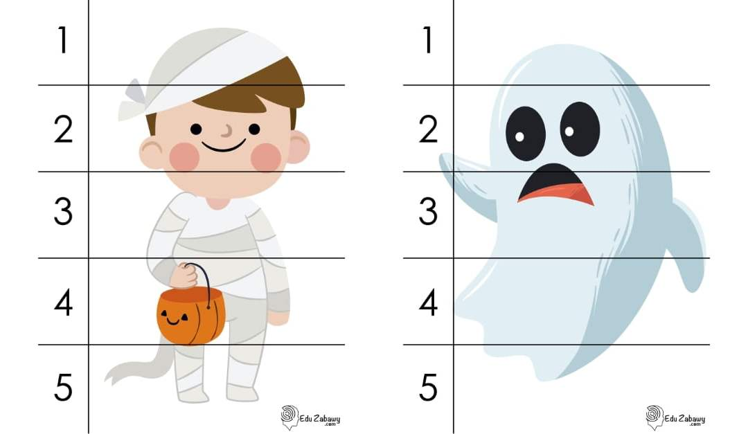Halloween: Puzzle 5 elementów (10 kart pracy)