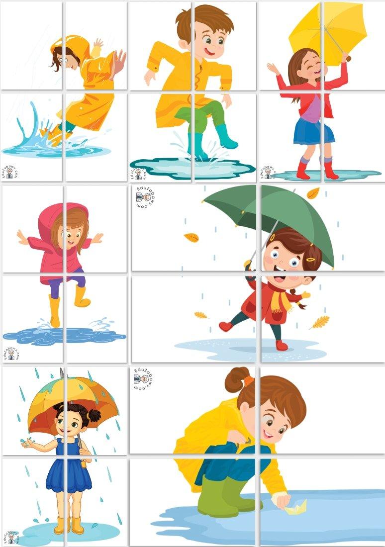 Dekoracje XXL: Dzieci w kałuży (7 szablonów) Dekoracje Dekoracje (Dzień Dziecka) Dekoracje (Jesień)
