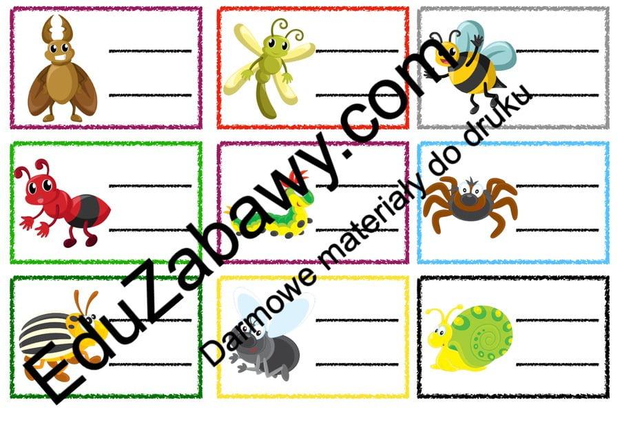 Znaczki przedszkolne - Owady Powitanie przedszkola Tematyczne Wrzesień Znaczki na szafki / etykiety