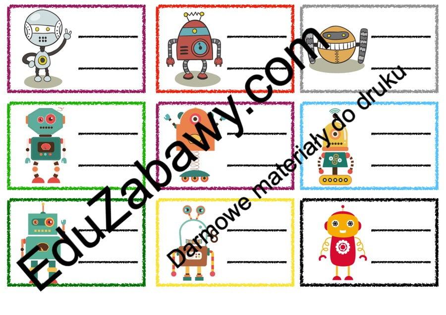 Znaczki przedszkolne – Roboty Kalendarz świąt Powitanie przedszkola Wrzesień Znaczki na szafki / etykiety