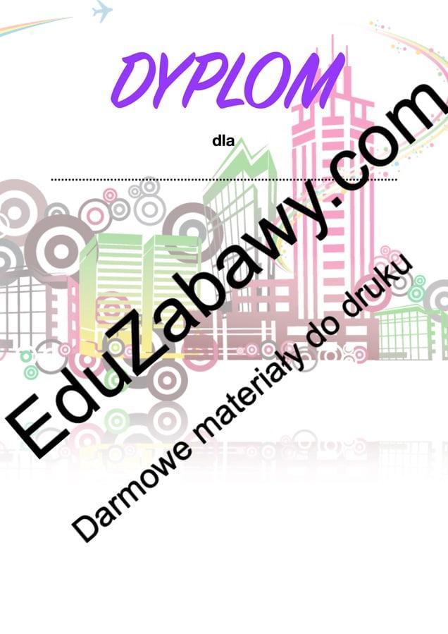 Dyplomy uniwersalne z motywem miasta Dyplomy Okolicznościowe Wakacyjne (Dyplomy)