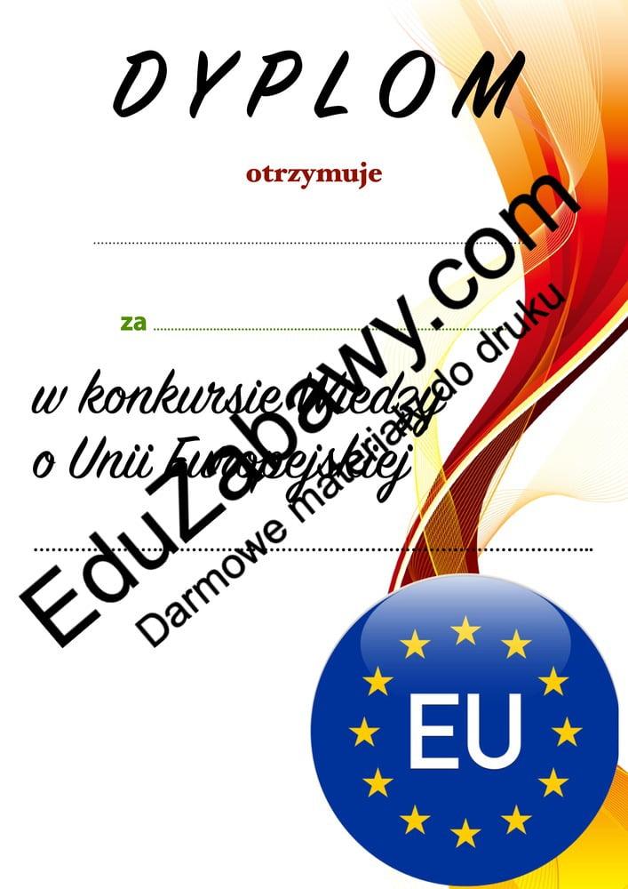 Dyplom za udział w konkursie o Unii Europejskiej Dyplomy Okolicznościowe Za konkursy (Dyplomy)