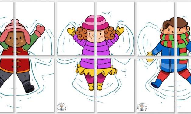 Dekoracje XXL: Dzieci robiące aniołki w śniegu