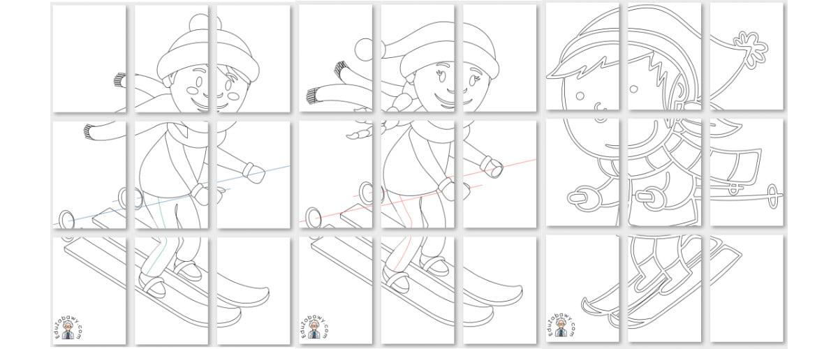 Kolorowanki XXL: Dzieci na nartach i sankach