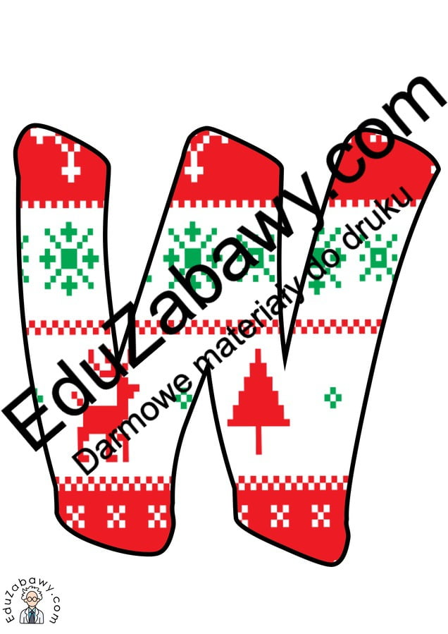 Napis Święty Mikołaj - wzór w sweterek Mikołajki Napisy (Mikołajki)