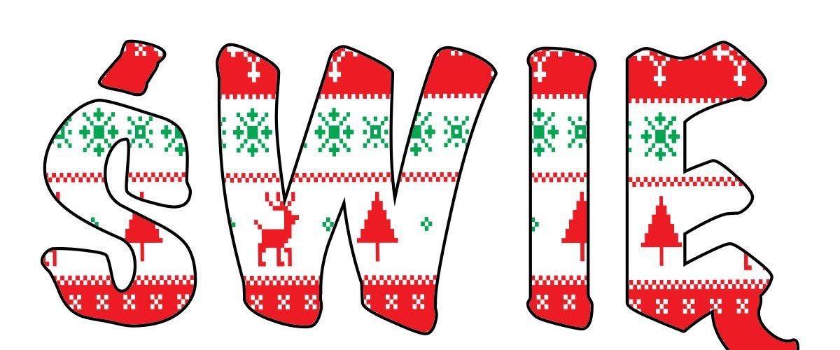 Napis Święty Mikołaj – wzór w sweterek