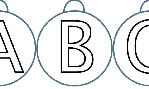 Bombka – duże litery do pokolorowania
