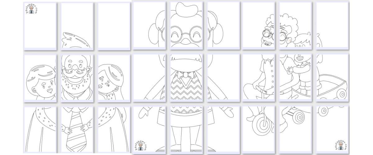 Kolorowanki XXL: Dziadek (7 szablonów)